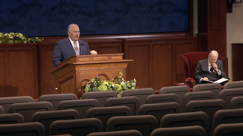 Elder Ronald A. Rasband speaks during the Sunday morning session of the 190th Annual General Conference on April 5, 2020.