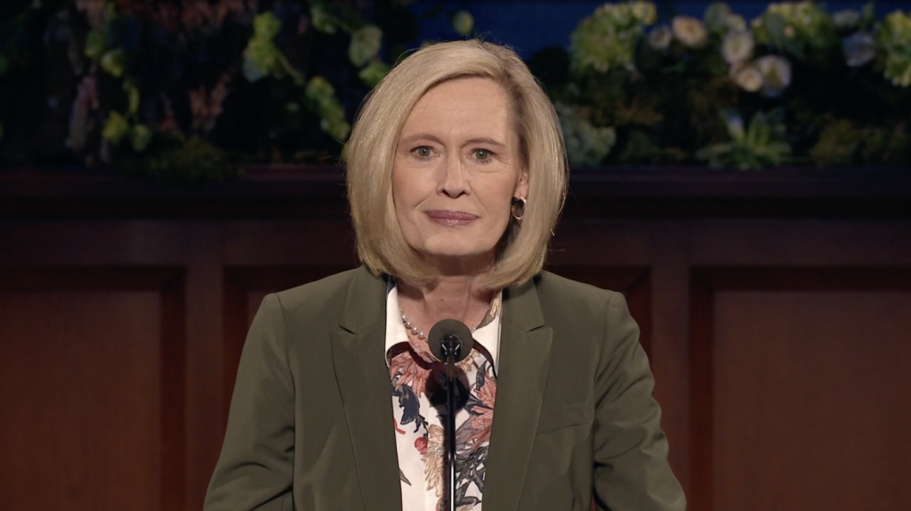 President Bonnie H. Cordon speaks during the Sunday morning session of the 190th Annual General Conference on April 5, 2020.
