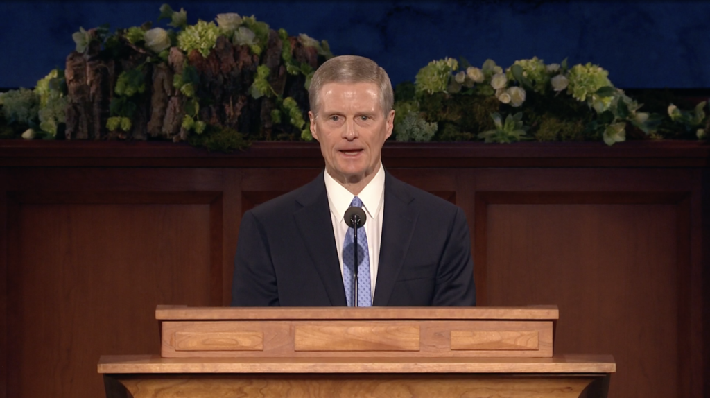 Elder David A. Bednar speaks during the Sunday morning session of the 190th Annual General Conference on April 5, 2020.