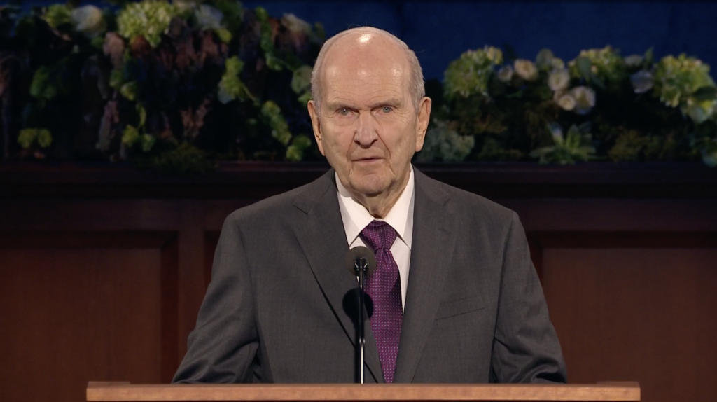 President Russell M. Nelson speaks during the Sunday morning session of the 190th Annual General Conference on April 5, 2020.