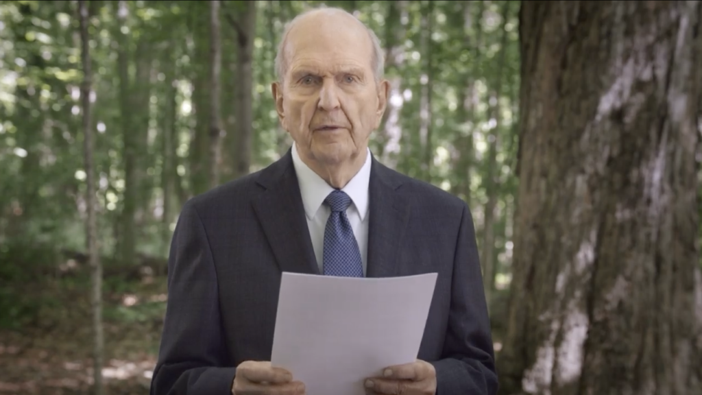 """In a video shown during the Sunday morning session of the 190th Annual General Conference broadcast on April 5, 2020, President Russell M. Nelson reads a new proclamation in the Sacred Grove. The proclamation is titled, """"The Restoration of the Fulness of the Gospel of Jesus Christ: A Bicentennial Proclamation to the World."""""""