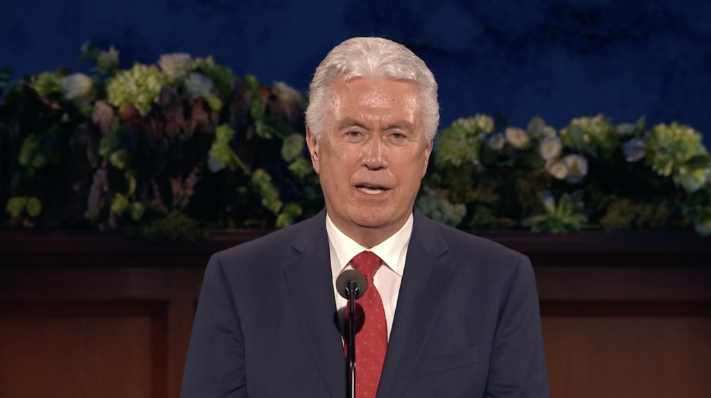 Elder Dieter F. Uchtdorf speaks during the Sunday afternoon session of the 190th Annual General Conference on April 5, 2020.