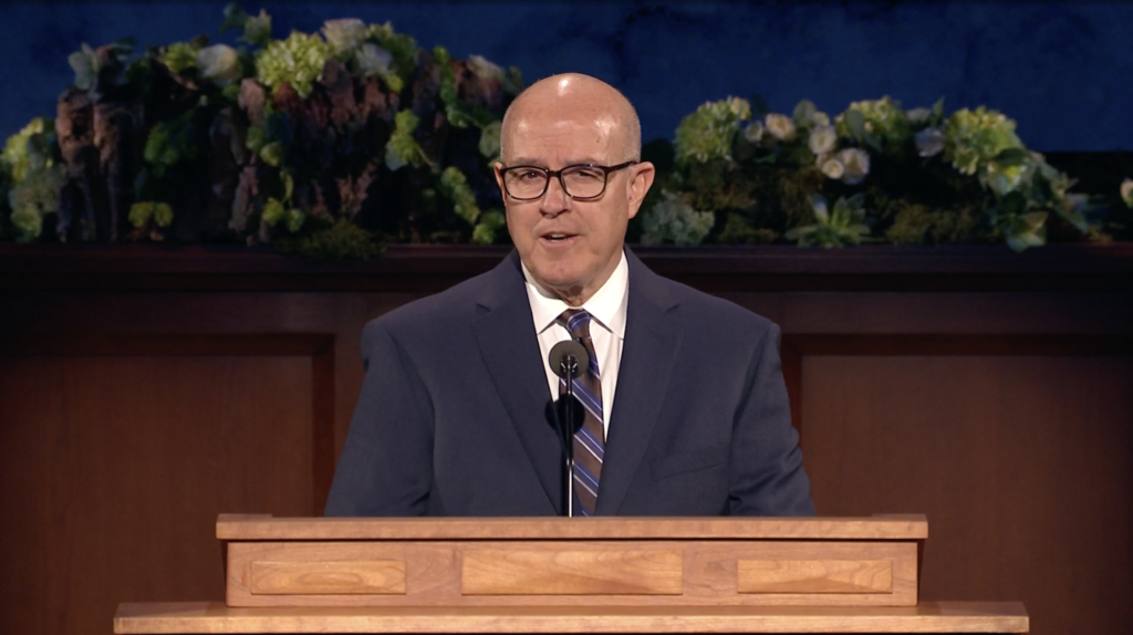 Elder L. Whitney Clayton speaks during the Sunday afternoon session of the 190th Annual General Conference on April 5, 2020.