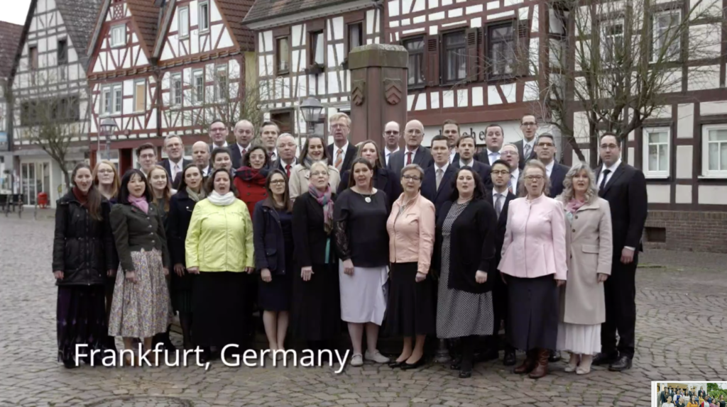 "A choir from Frankfurt, Germany, sings ""We Thank Thee, O God, For a Prophet"" during the Sunday afternoon session of the 190th Annual General Conference on April 5, 2020."