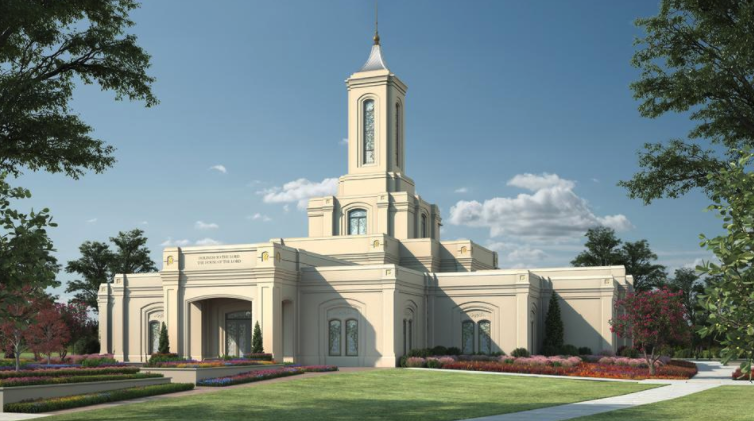A rendering of the Moses Lake Washington Temple.