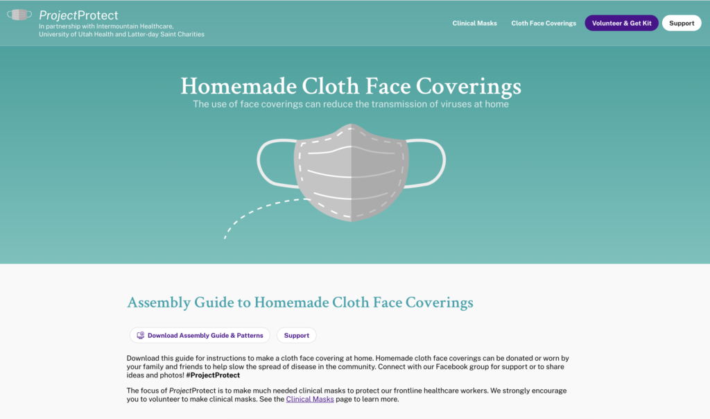 A screenshot from ProjectProtect.health shows a link to an assembly guide and pattern to make homemade cloth face coverings.