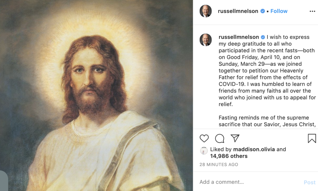 President Russell M. Nelson shared a message of gratitude on his Instagram account on Friday, April 17.