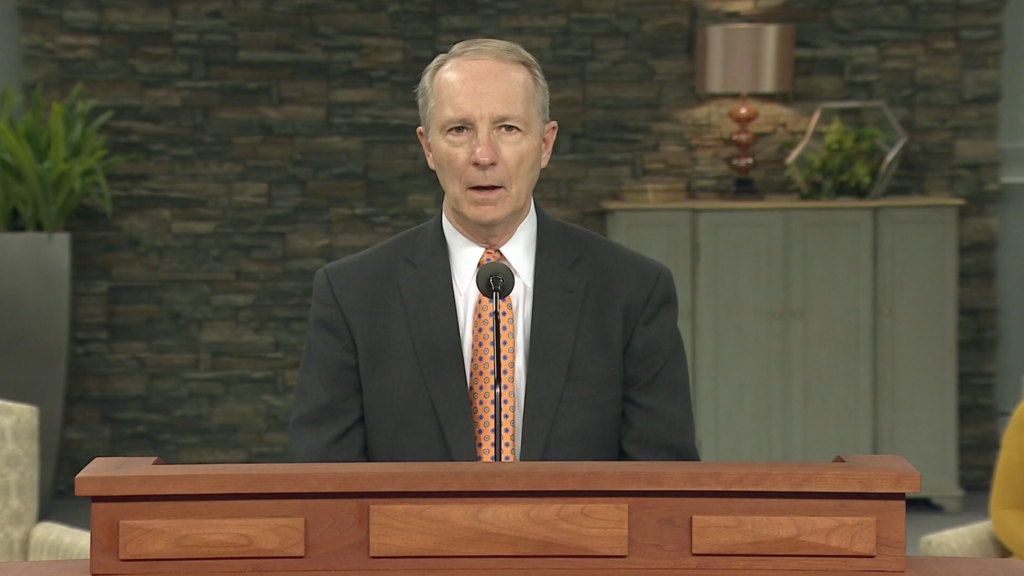 President Bruce C. Kusch speaks during an LDS Business College devotional broadcast Tuesday, April 21, 2020. The devotional was broadcast online due to the COVID-19 pandemic.