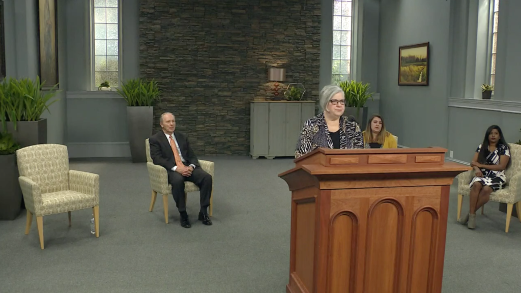Sister Alynda Kusch speaks during an LDS Business College devotional broadcast Tuesday, April 21, 2020. The devotional was broadcast online due to the COVID-19 pandemic.