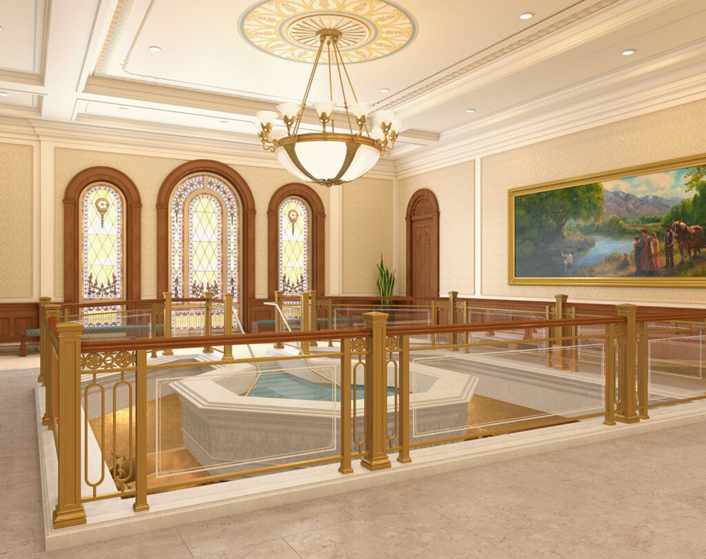 A rendering of the baptistry of the Tooele Valley Utah Temple.