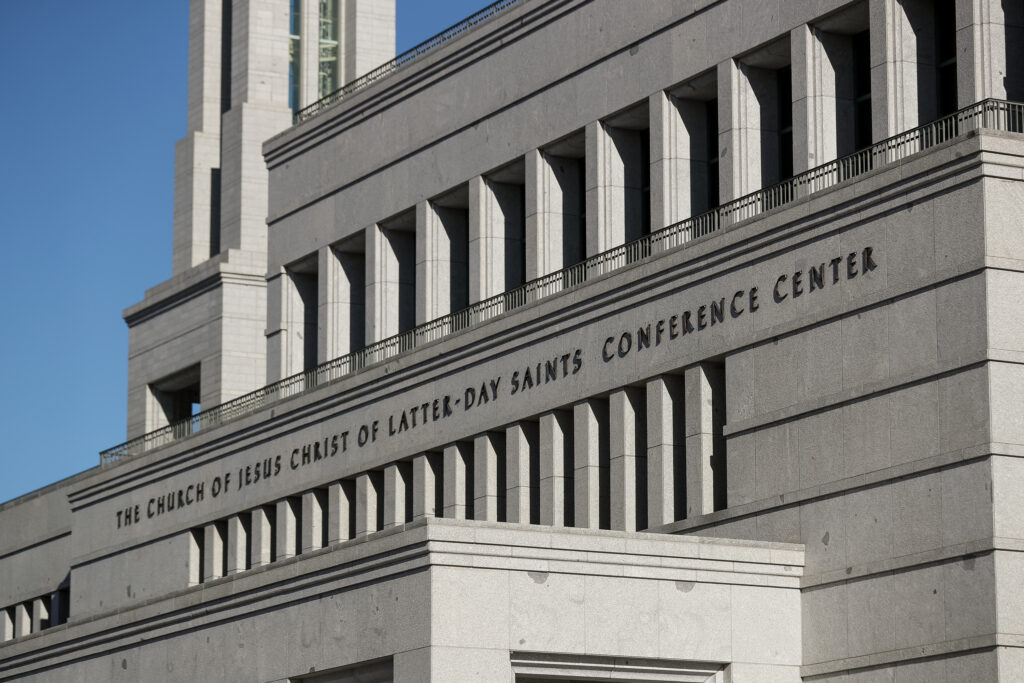 The Church of Jesus Christ of Latter-day Saints' Conference Center in Salt Lake City is pictured before the start of the 190th Annual General Conference on Saturday, April 4, 2020. Due to the spread of COVID-19, the conference is being broadcast without Church members in attendance.