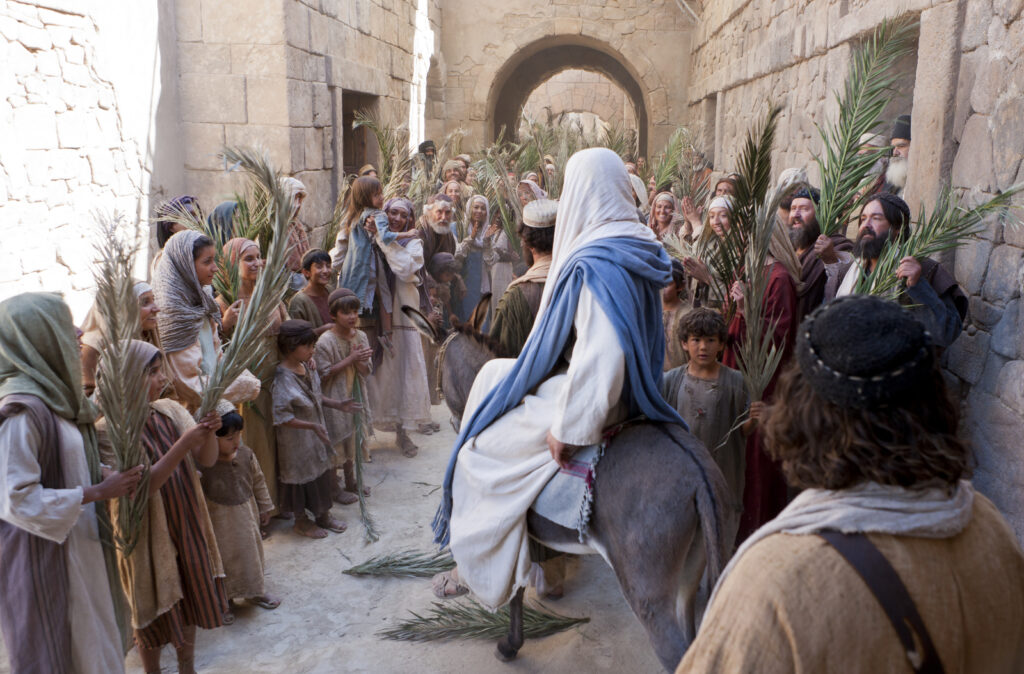 An image from a Church-produced Bible video depicts the Savior's triumphal entry into Jerusalem.