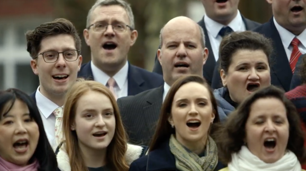 "Latter-day Saints in Frankfurt, Germany, sing ""We Thank Thee, O God, For a Prophet"" in a recording that was broadcast during the Sunday afternoon session of the 190th Annual General Conference on April 5, 2020."