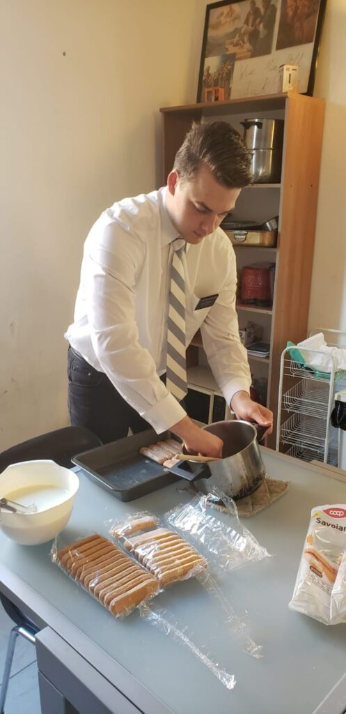 Elder Karson Hastings of the Italy Milan Mission hones his cooking skills with preparation-day Italian cooking classes shared with missionaries during their isolation in the 2020 COVID-19 pandemic period.
