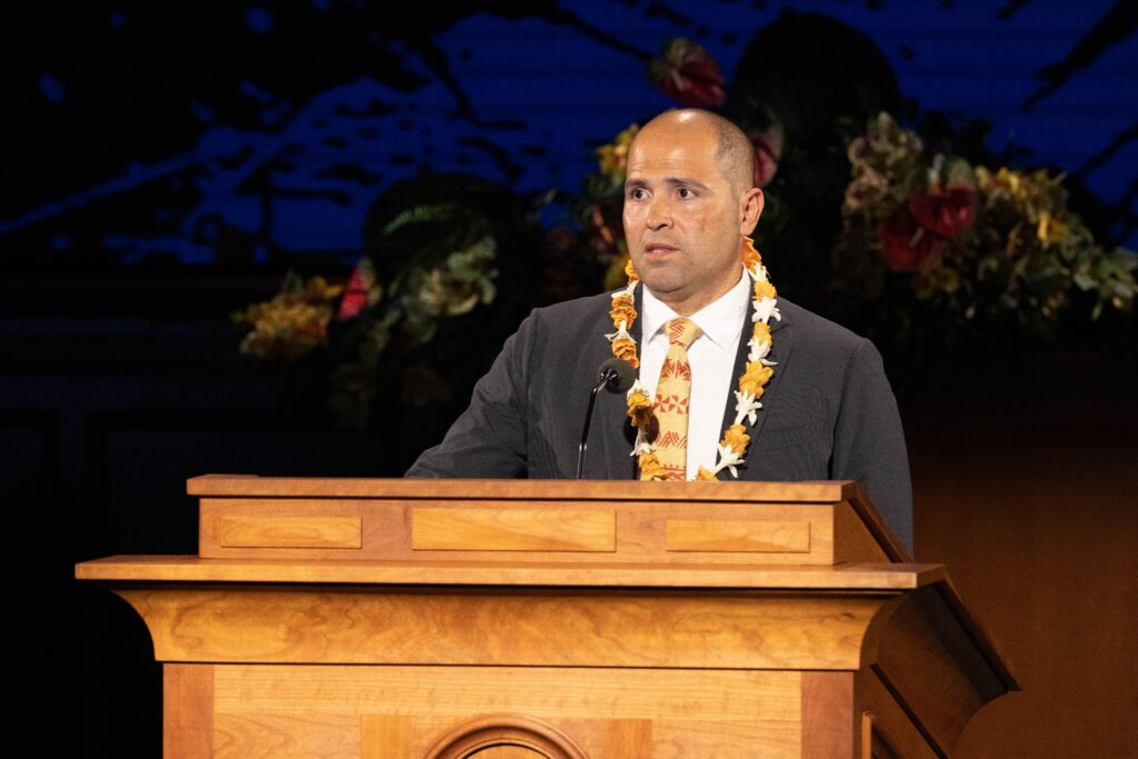 """John """"Keoni"""" Kauwe speaks during a live-streamed devotional on May 12, 2020, after being named the 11th president of Brigham Young University–Hawaii."""