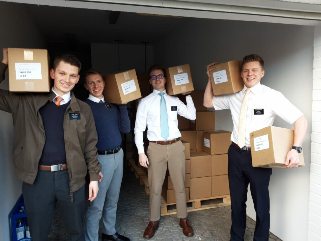 Elders of the Germany Berlin Mission unload boxes of 4,000 copies of the Book of Mormon delivered to the mission home just before the COVID-19 quarantine took effect in Berlin. During the quarantine, missionaries encouraged members to spend time as families marking their favorite scriptures and writing their testimony in these books. The Berlin mission now has hundreds of personalized books ready to be gifted to friends of the Church.