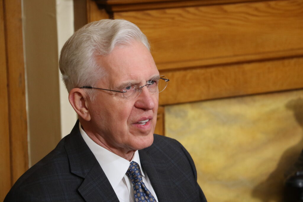 Elder D. Todd Christofferson addresses missionaries in home MTCs via technology from Brigham Young's Office in the Beehive House in Salt Lake City. The devotional was released on May 14, 2020.