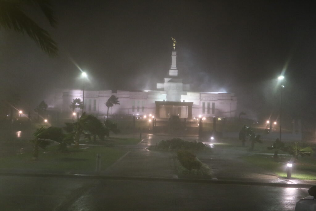 The Suva Fiji Temple, seen as Tropical Cyclone Winston hits the the island nation on Saturday, Feb. 20, 2016.