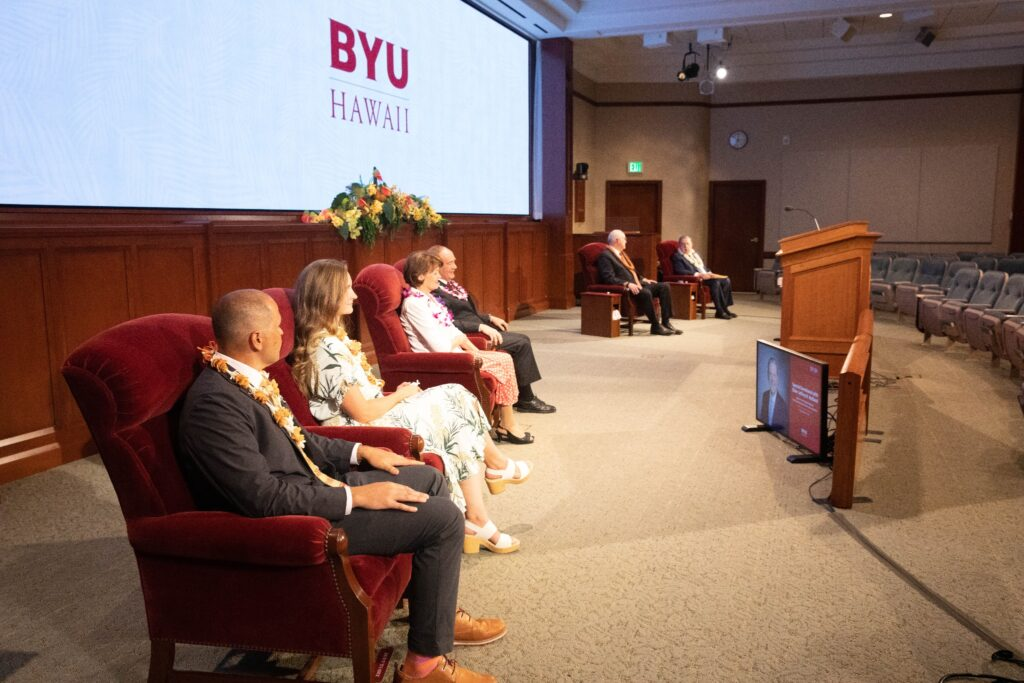The scene prior to an announcement of a new president of BYU-Hawaii on Tuesday, May 12, 2020, by Elder Jeffrey R. Holland of the Quorum of the Twelve Apostles during the university's weekly devotional. The address was broadcast from the Church Office Building auditorium on Temple Square in Salt Lake City.