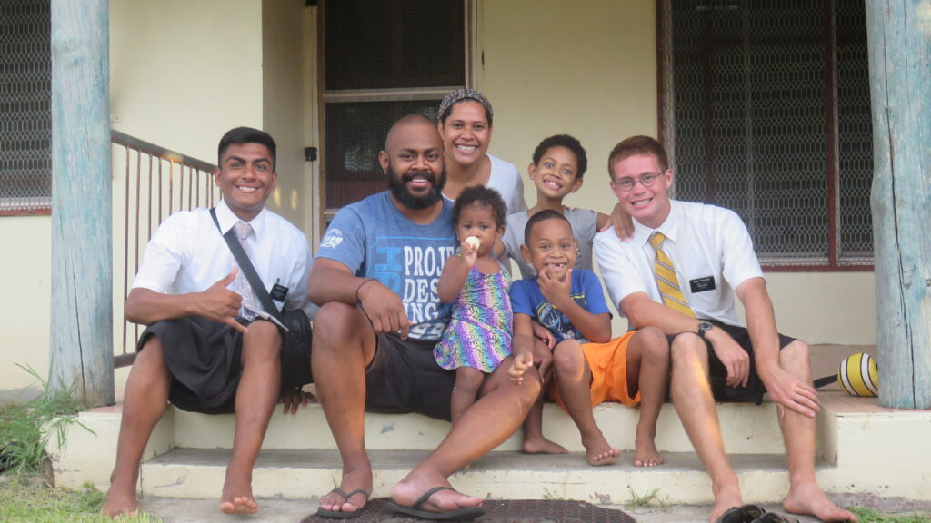 Ethan Lowell Edwards was assigned to serve in the Suva Fiji Mission. He is pictured here with Joni and his family in Suva, Fiji. Joni volunteered as part of the crew that flew the missionaries home.