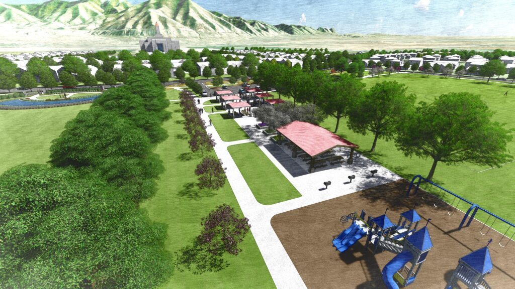 The overhead view in the middle of the regional park, looking east. This is an artist's rendering of a portion of the planned residential community near the site of the Tooele Valley Utah Temple.