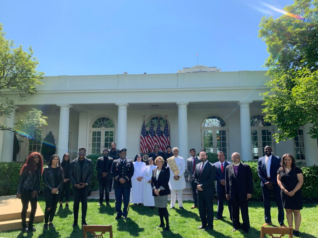 Participants of the annual White House National Day of Prayer event in the Rose Garden at the White House, Thursday, May 7, 2020.