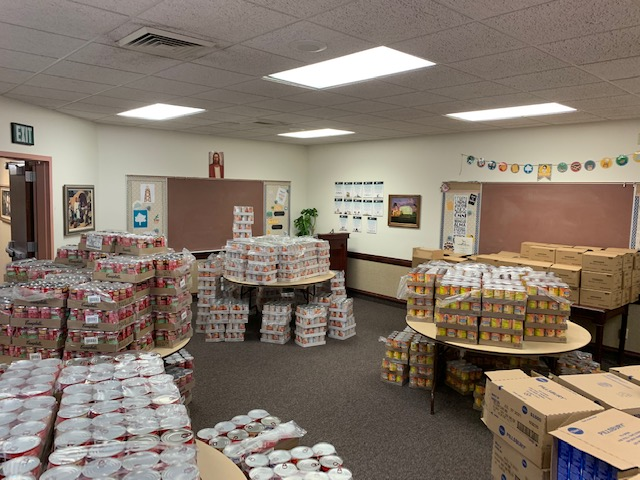 Donated food items to be distributed to people in need across the Navajo Nation are stored at the Arizona Tuba City Stake Center.