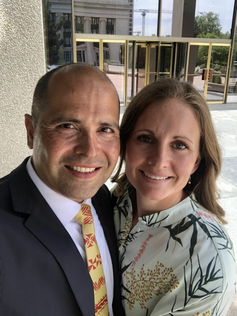 "President John ""Keoni"" S.K. Kauwe III, with his wife, Monica Mortenson Kauwe, at Temple Square in Salt Lake City on the day they accepted the position as president of BYU–Hawaii."