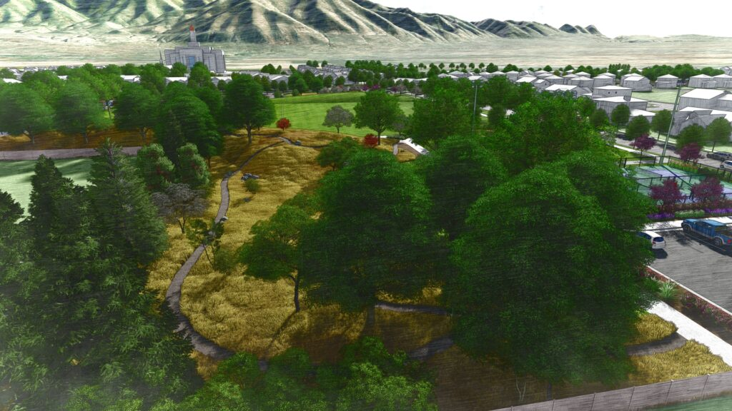 Overhead view of the natural vegetation walking trail, looking east. This is an artist's rendering of a portion of the planned residential community near the site of the Tooele Valley Utah Temple.