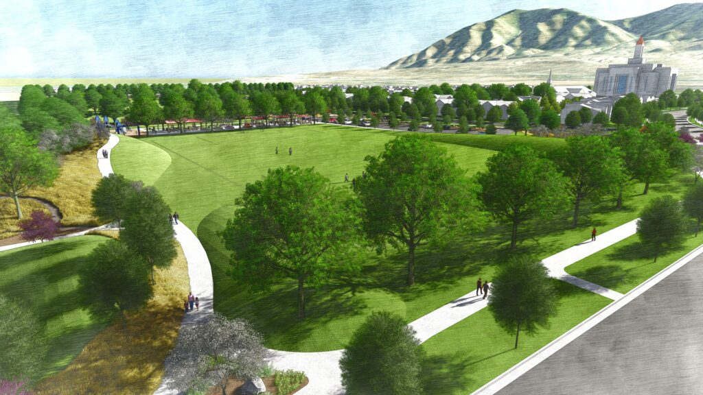 Overhead view of the southern multipurpose playing field, looking northeast. This is an artist's rendering of a portion of the planned residential community near the site of the Tooele Valley Utah Temple.
