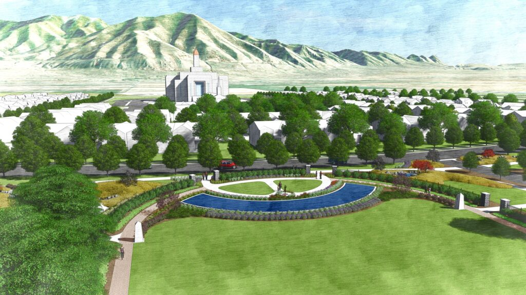 Overhead view of the Pioneer Cemetery, looking east. This is an artist's rendering of a portion of the planned residential community near the site of the Tooele Valley Utah Temple.