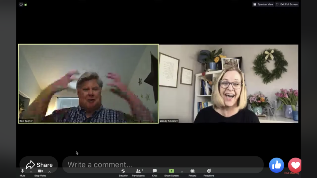 Wendy Smedley, right, interviews Ron Tanner of FamilySearch during a Facebook live event on April 8, 2020.