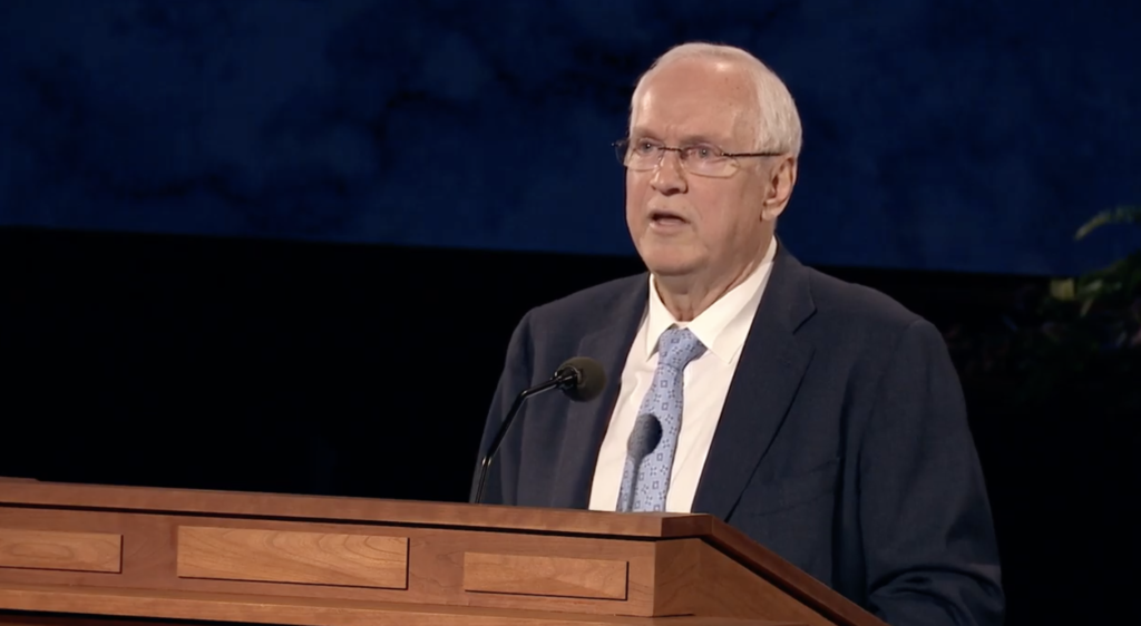 Elder Robert C. Gay of the Presidency of the Seventy speaks during a worldwide devotional for young adults on Sunday, May 3, 2020.