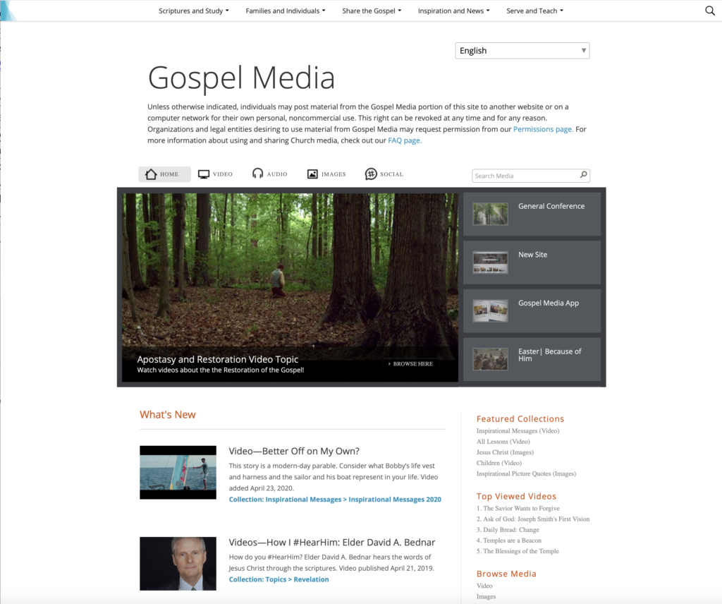 A screenshot displaying the old web page design of Gospel Media.