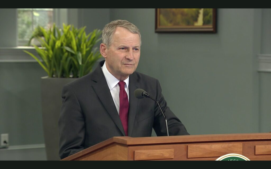Elder LeGrand R. Curtis Jr. addresses LDS Business College students virtually in a devotional on May 12, 2020.