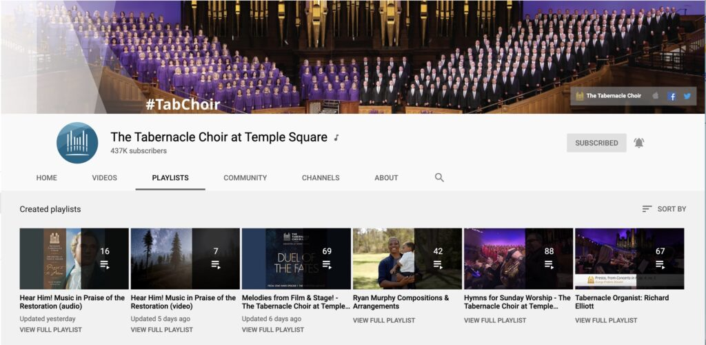 A screenshot of the Tabernacle Choir at Temple Square's playlists section on their YouTube channel.