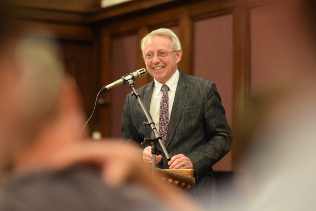 "Terryl Givens, a senior research fellow at the Neal A. Maxwell Institute for Religious Scholarship and author of ""Second Nephi: A Brief Theological Introduction,"" speaks about his forthcoming volume at an event held at Brigham Young University in Provo, Utah, on July 14, 2019."