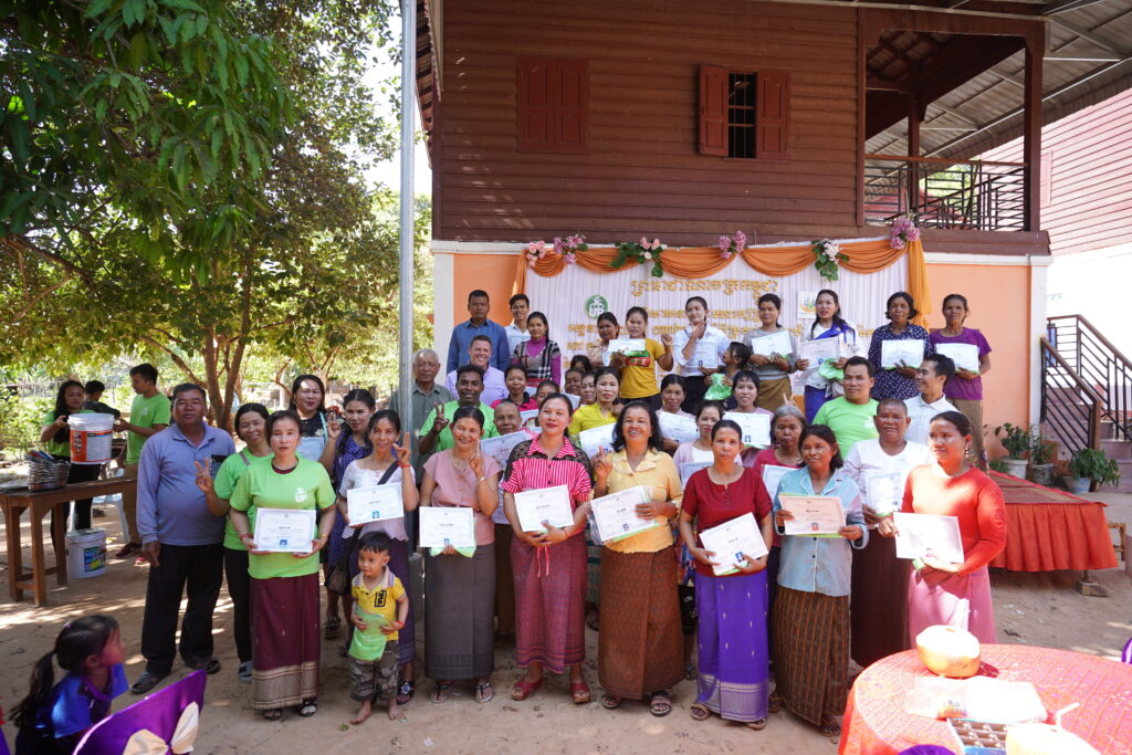 RiceUp's first farm school graduation in Cambodia in December 2019. Farm school graduates are 80% women.