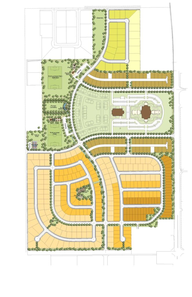 Site plan of the proposed residential community near the site of the Tooele Valley Utah Temple.