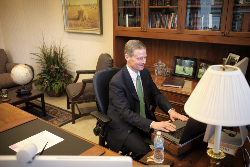 Elder David A. Bednar speaks via videoconference from his office on Temple Square in Salt Lake City, Utah, during BYU's Religious Freedom Annual Review on June 17, 2020.