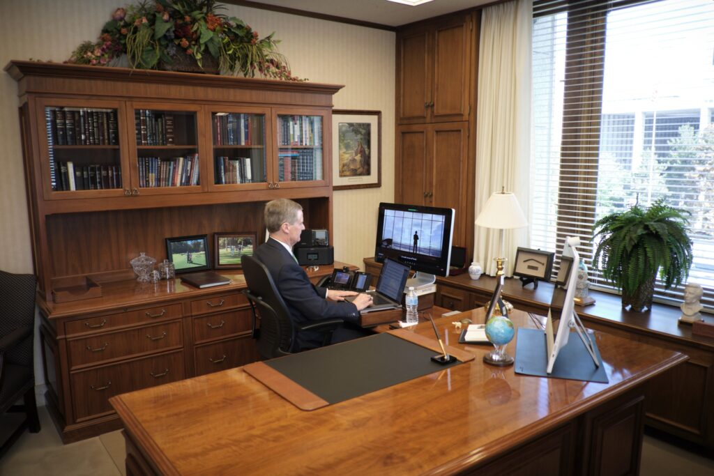 Elder David A. Bednar of the Quorum of the Twelve Apostles of The Church of Jesus Christ of Latter-day Saints participates in the Religious Freedom Annual Review from his Salt Lake City office on Wednesday, June 17, 2020. The event is hosted by the Brigham Young University Law School.