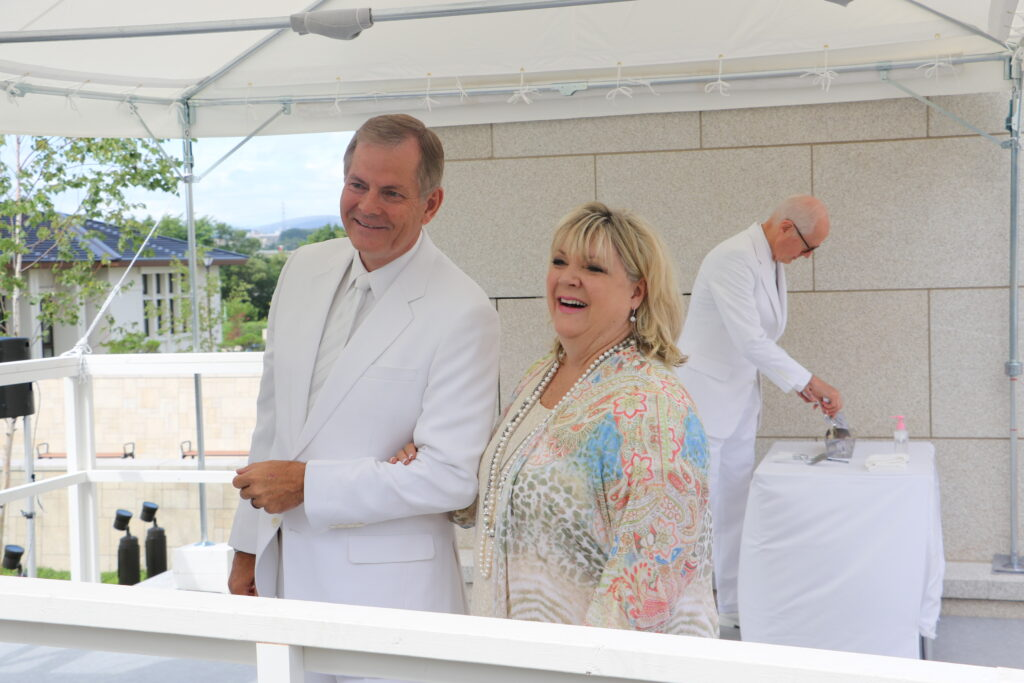 Elder Gary E. Stevenson and his wife, Sister Lesa Stevenson, at the cornerstone ceremony for the Sapporo Japan Temple on Aug. 21, 2016.