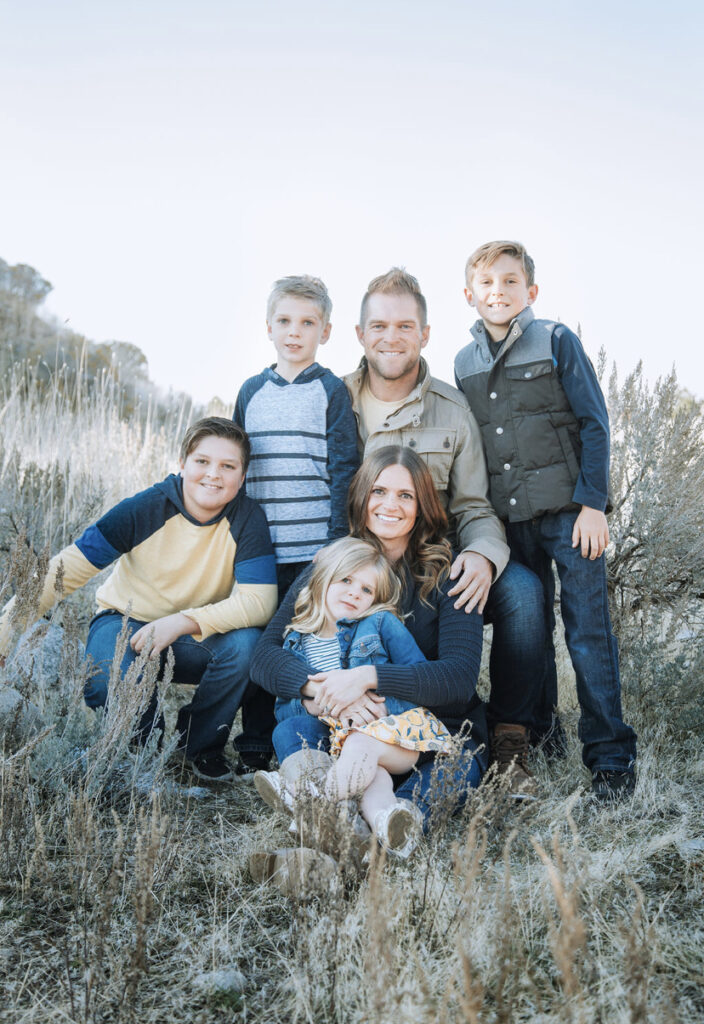 The Summerhays family (from left, top) Jack, 12; William, 8; Daniel and Patton, 10. (Seated) Emily and Lydia, 5.