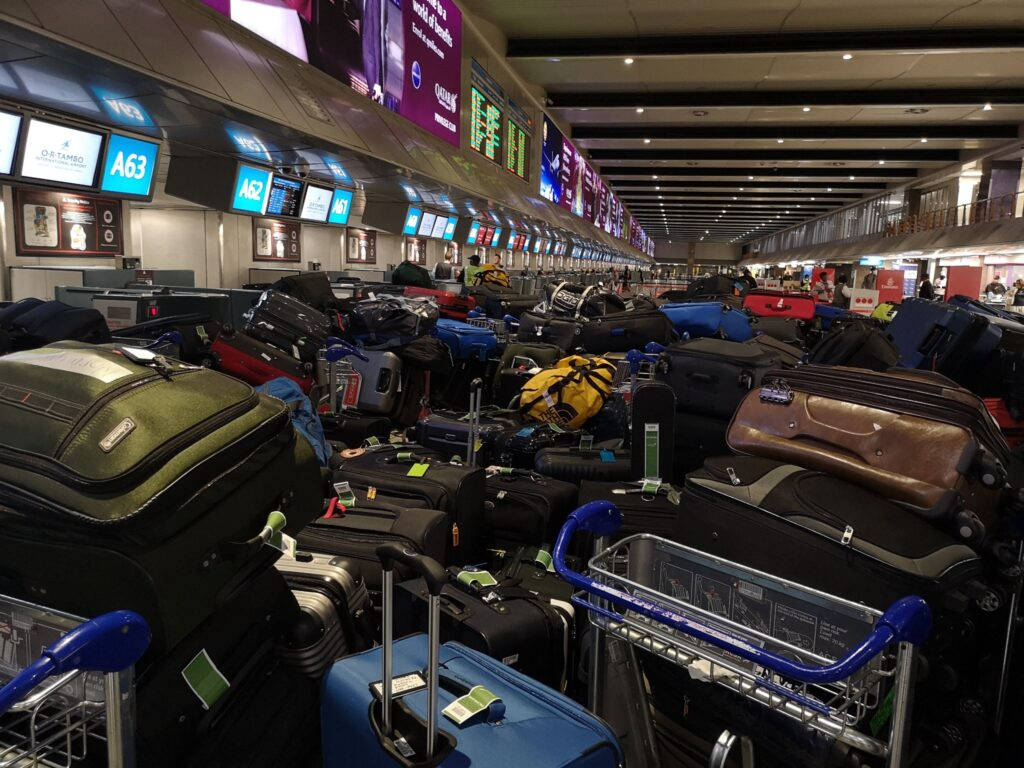 Missionaries returning to the United States aboard a chartered Ethiopian Air charter from South Africa were not able to take all of their bags. The bags are currently stored in the Africa Southeast Area offices.