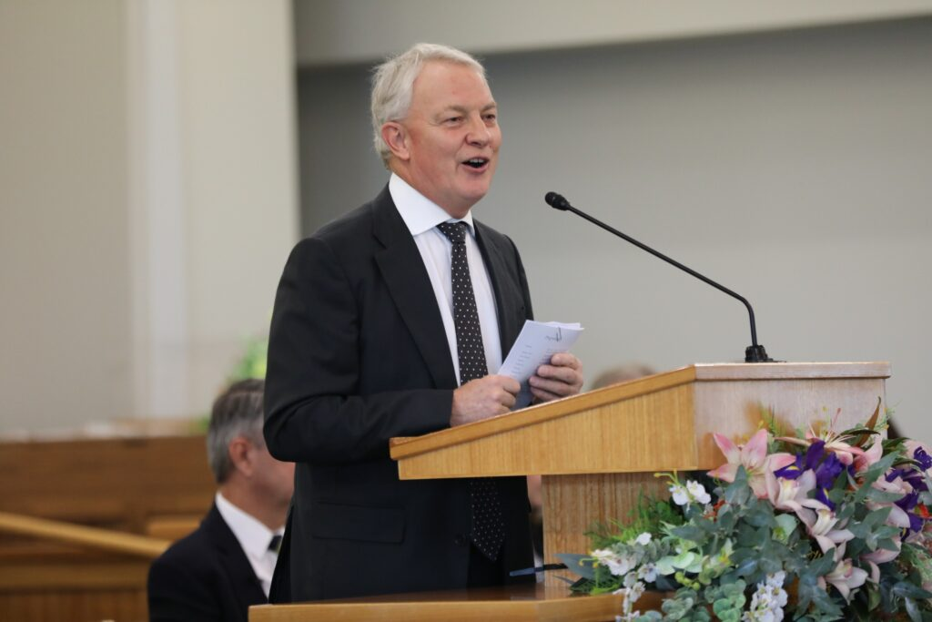 Mayor Phil Goff speaks at the Auckland New Zealand Temple groundbreaking ceremony on June 13, 2020.