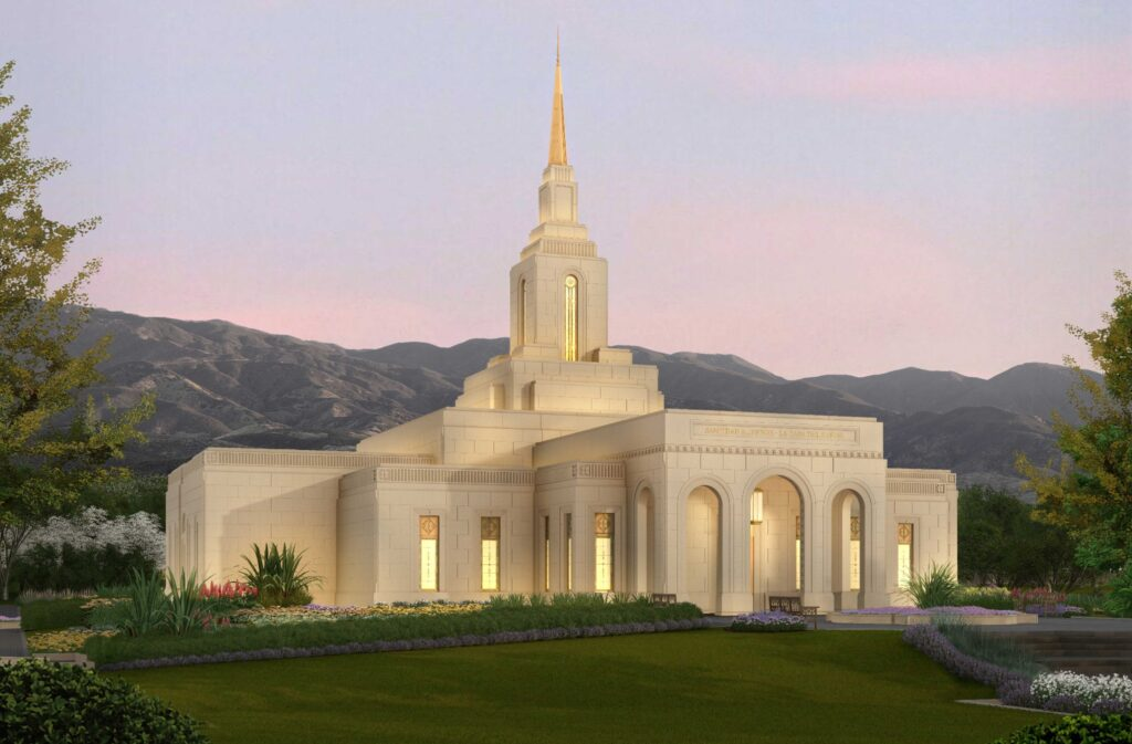 The exterior rendering of the Mendoza Argentina Temple, released by the Church on June 23, 2020.