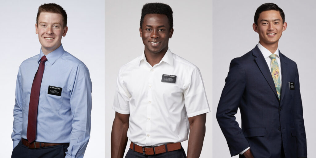 The First Presidency announced approved missionary attire exceptions for elders, including white or blue shirts and with or without ties. The standard continues to be a white shirt and tie and, in some areas, a suit coat. The announcement was made June 12, 2020.