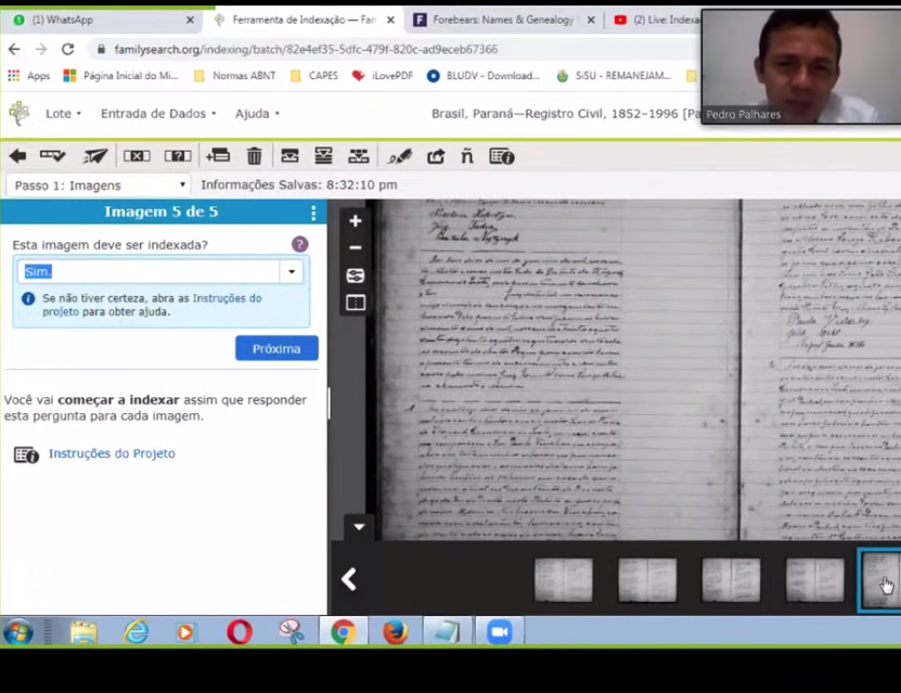 Pedro Palhares, top right, shows how to index records during a FamilySearch Brazil live social media event on May 17, 2020.