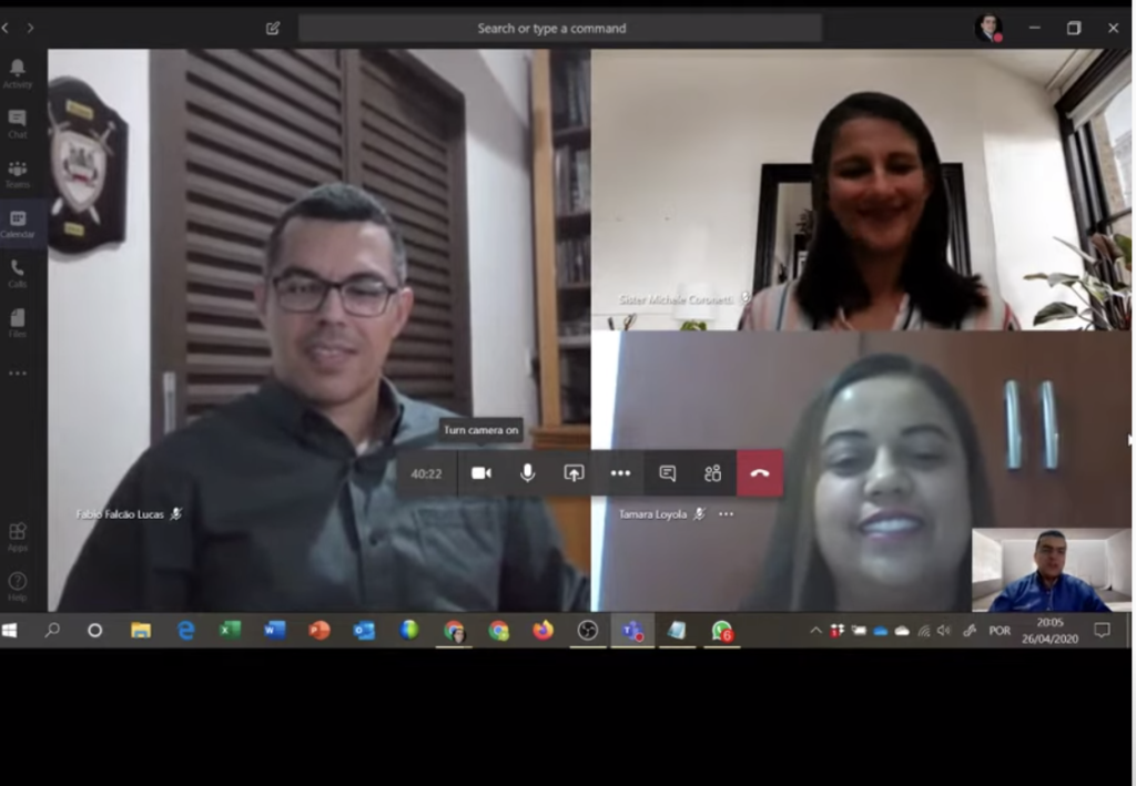 Adriano Almeida, bottom right, introduces Fábio Falcão Lucas, Michele Coronetti and Tamara Loyola during a FamilySearch live social media event on April 26, 2020.