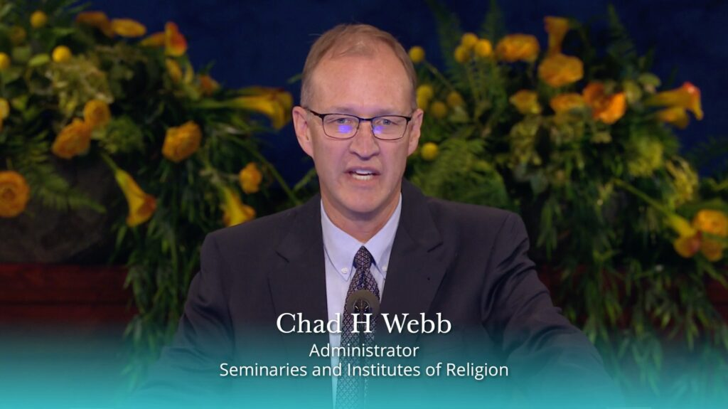 Chad H Webb, Seminaries and Institutes of Religion administrator, speaks during the 2020 Seminaries and Institutes Annual Training broadcast on June 9, 2020.